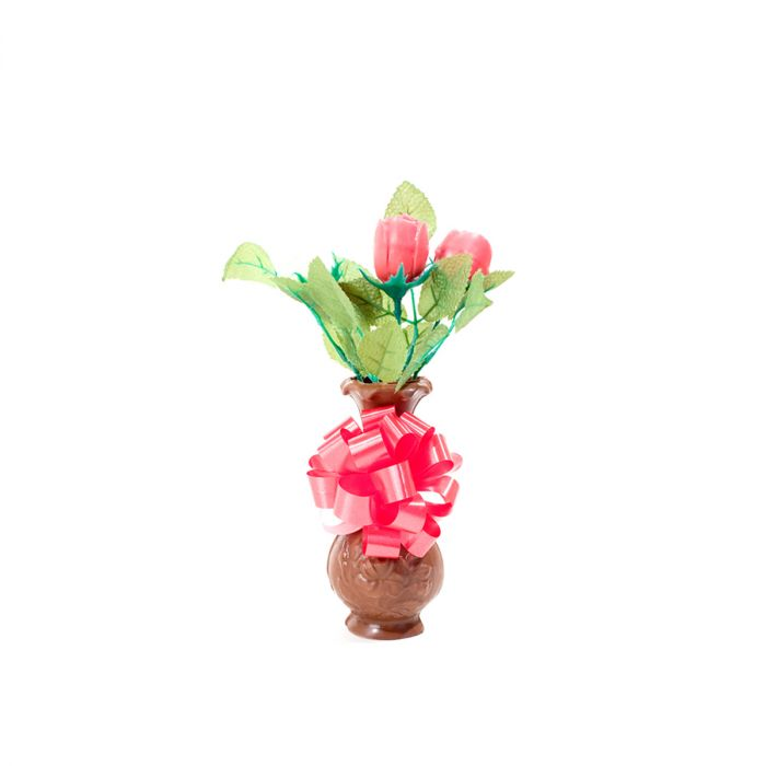 Chocolate Vase With 3 Roses