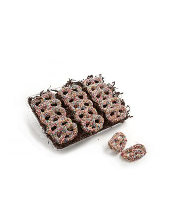Chocolate Covered Pretzels with Nonpareil
